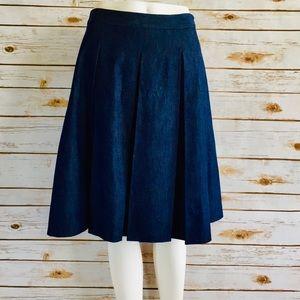 The Limited Denim Pleat Flare Skirt.